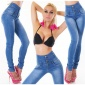 SKINNY HIGH-WAISTED DRAINPIPE JEANS USED-LOOK DARK BLUE