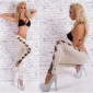 SEXY SKINNY DRAINPIPE PANTS IN LEATHER-LOOK WITH CUT-OUTS KHAKI/LEO