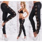 SEXY SKINNY DRAINPIPE PANTS IN LEATHER-LOOK WITH CUT-OUTS BLACK/LEO