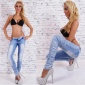 SEXY SKINNY DRAINPIPE JEANS IN DESTROYED LOOK WITH LACE BLUE