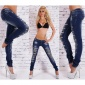 SEXY SKINNY DRAINPIPE JEANS IN DESTROYED LOOK WITH LACE DARK BLUE