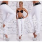 SEXY SKINNY DRAINPIPE JEANS WITH BUTTON FLY INCL. BELT WHITE