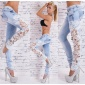 SEXY SKINNY DRAINPIPE JEANS WITH EMBROIDERY BLEACHED LIGHT BLUE