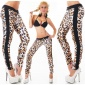 SEXY STRETCH PANTS IN ANIMAL-LOOK WITH ZIPPERS LEOPARD/BLACK