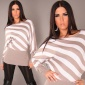 ELEGANT KNITTED SWEATER LONG SWEATER CAPPUCCINO/WHITE