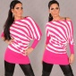 ELEGANT KNITTED SWEATER LONG SWEATER FUCHSIA/WHITE