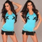 SEXY TANKTOP WITH X PRINT TURQUOISE