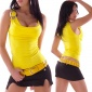 SEXY TOP WITH DECORATION-BUCKLE WATERFALL-LOOK YELLOW