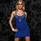 SEXY MINI DRESS PARTY DRESS WITH CHAIN BLUE