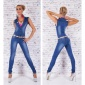 SEXY USED LOOK JEANS OVERALL JUMPSUIT WITH BELT DARK BLUE