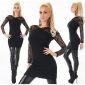 STYLISH LADIES RIB-KNITTED SWEATER PULLOVER WITH LACE BLACK