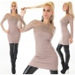 STYLISH LADIES RIB-KNITTED SWEATER PULLOVER WITH LACE TAUPE