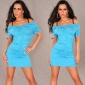 SEXY MINIDRESS WITH TRENDY GATHERS TURQUOISE
