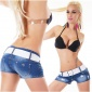 ULTRA SEXY JEANS HOTPANTS WITH RHINESTONES DESTROYED DARK BLUE