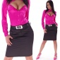 ELEGANT BUSINESS SATIN PENCIL SKIRT WITH BELT BLACK