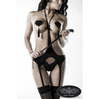 4 PCS EROTIC LINGERIE SET BODY WHIP NIPPLE PATCH STOCKINGS GOGO BLACK