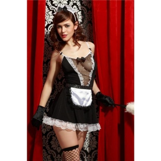 SEXY 5 PCS MAID COSTUME OUTFIT GOGO SET CLUBWEAR BLACK/WHITE