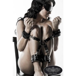 5 PCS BONDAGE SET HANDCUFFS AND FOOTCUFFS IMITATION LEATHER BLACK