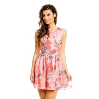 SWEET A-LINE CHIFFON MINIDRESS WITH FLORAL DESIGN BABYDOLL PINK