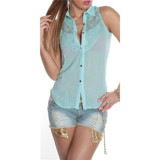 ELEGANT SLEEVELESS CHIFFON-BLOUSE WITH LACE TRANSPARENT MINT GREEN