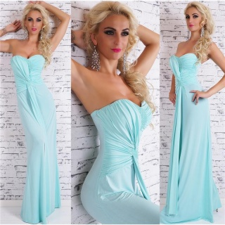 FLOOR-LENGTH GLAMOUR BANDEAU EVENING GOWN DRESS WITH TRAIN MINT GREEN