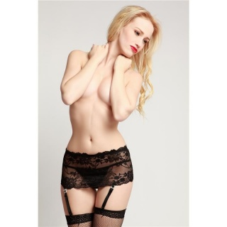 SEXY BROAD SUSPENDERS GARTER-BELT MADE OF LACE LINGERIE BLACK