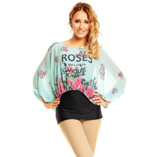 CHIFFON SHIRT WITH LONG BATWING SLEEVES AND FLOWERS MINT/BLACK