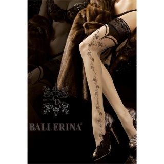 NOBLE BALLERINA GLAMOUR NYLON STOCKINGS WITH LACE TOP NUDE/BLACK