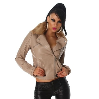 NOBLE BIKER JACKET IMITATION LEATHER WITH FAKE FUR COLLAR BEIGE