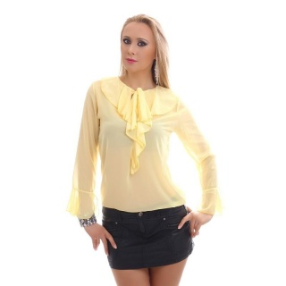ELEGANT CHIFFON BLOUSE TRANSPARENT WITH BOW TIE AND FLOUNCES YELLOW