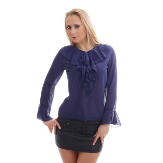 ELEGANT CHIFFON BLOUSE TRANSPARENT WITH BOW TIE AND FLOUNCES NAVY