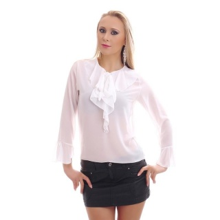 ELEGANT CHIFFON BLOUSE TRANSPARENT WITH BOW TIE AND FLOUNCES WHITE