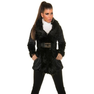 NOBLE JACKET SHORT COAT WITH FAKE FUR INCL. BELT BLACK