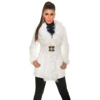 NOBLE JACKET SHORT COAT WITH FAKE FUR INCL. BELT WHITE