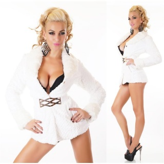 NOBLE FAKE FUR TEDDY JACKET SOFTY WITH STRETCH-BELT WHITE