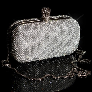NOBLE LUXURY GLAMOUR CLUTCH BAG WITH RHINESTONES SILVER