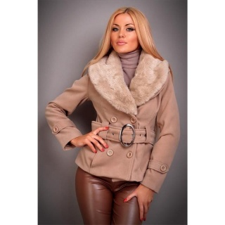 PRECIOUS LUXURY JACKET WITH FAKE FUR BELT BEIGE