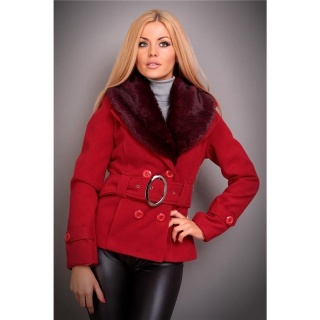 PRECIOUS LUXURY JACKET WITH FAKE FUR BELT RED