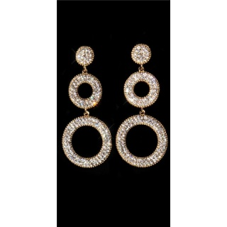 NOBLE STUD EARRINGS WITH SPARKLING RHINESTONES GOLD