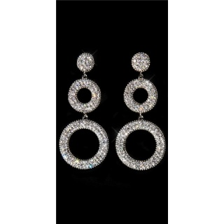 NOBLE STUD EARRINGS WITH SPARKLING RHINESTONES SILVER