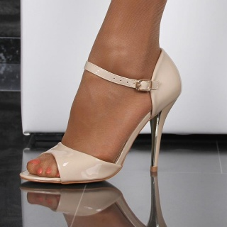 NOBLE SANDALS IN GLOSSY PATENT LEATHER LOOK WITH ANKLE STRAP BEIGE