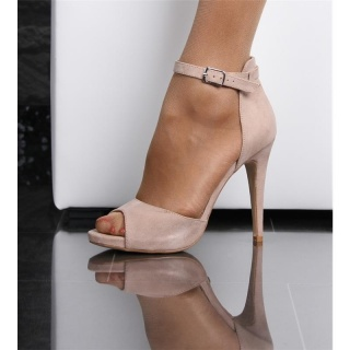 NOBLE SANDALS MADE OF VELOUR WITH ANKLE STRAPS BEIGE