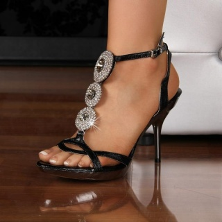 SEXY SANDALS HIGH HEELS SHOES WITH RHINESTONES BLACK
