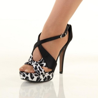 SEXY SATIN SANDALS PLATFORMS HIGH HEELS LEOPARD-LOOK BLACK