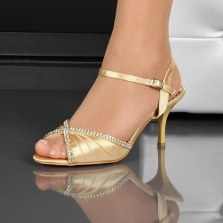 GLAMOROUS SATIN STRAPPY SANDALS WITH RHINESTONES GOLD