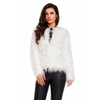 NOBLE JACKET MADE OF SUPER SOFT FAKE-FUR WHITE