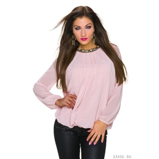 NOBLE TRANSPARENT CHIFFON BLOUSE WITH RHINESTONES PINK