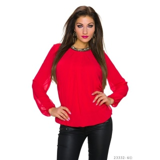 NOBLE TRANSPARENT CHIFFON BLOUSE WITH RHINESTONES RED