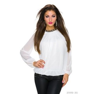 NOBLE TRANSPARENT CHIFFON BLOUSE WITH RHINESTONES WHITE