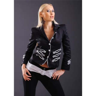 NOBLE BLAZER JACKET WITH CORDED APPLICATIONS BLACK/SILVER